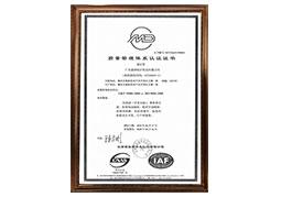 质量管理体系认证证书ISO 9001:2008